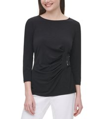 calvin klein ruched 3/4-sleeve top
