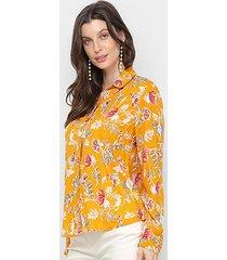 camisa adooro! manga longa floral feminina