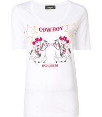 dsquared2 cowboy print t-shirt - white