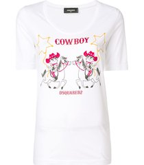 dsquared2 cowboy print t-shirt - white