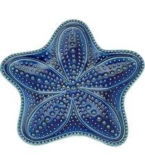 conjunto com 4 pratos bon gourmet em cerâmica estrela ocean azul