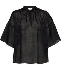 aida ss blouse blouses short-sleeved svart second female