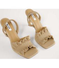 na-kd shoes högklackade skor med rysch - beige