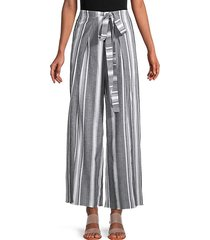connie belted stripe wide-leg pants