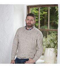 men's 100% soft merino wool oatmeal merino crew neck sweater medium