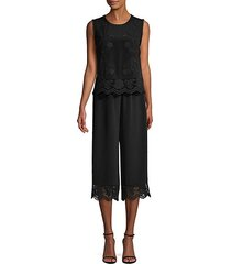 tank overlay embroidered silk jumpsuit