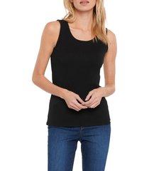 women's nydj fitted rib tank, size medium - black