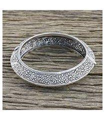 sterling silver bangle bracelet, 'spiraling vines' (thailand)
