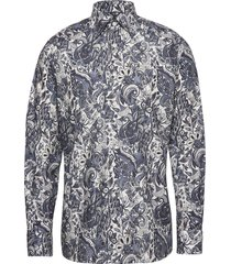 flannel paisley shirt - contemporary fit overhemd casual grijs eton
