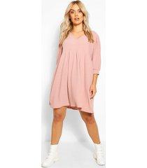 plus puff sleeve rib smock dress, soft pink
