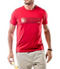 camiseta foil logo no stress vermelha - kanui