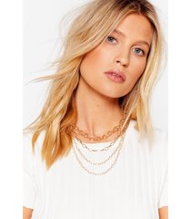 womens chain-ge of plan layered necklace - gold