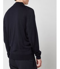 john smedley men's maclean knitted bomber jacket - midnight - l