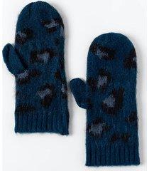 bri leopard print mittens - navy