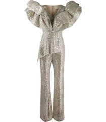 loulou structured ruffled jumpsuit - silver