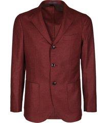 deep red virgin wool-cashmere blend blazer