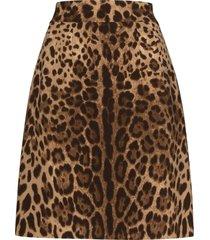 dolce & gabbana leopard-print a-line skirt - brown