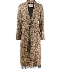 twin-set leopard print belted coat - brown