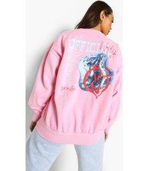 official overdye sweater met opdruk, pale pink
