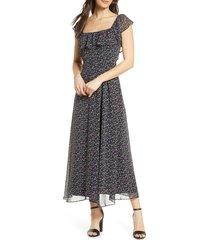 women's sam edelman ruffle neck chiffon midi dress