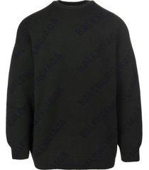 balenciaga dark green and black all-over diag logo unisex pullover