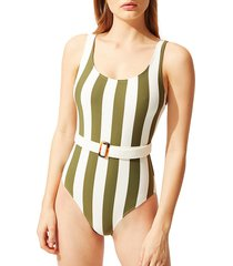 solid and striped women's the anne-marie one-piece swimsuit - safari stripe - size xs