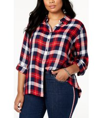 tommy hilfiger plus size roll-tab plaid shirt, created for macy's