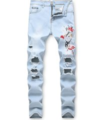floral embroidery destroyed casual jeans