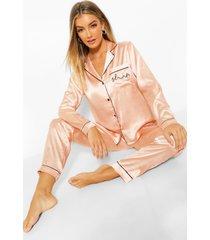 geborduurde satijnen 'sleep' pyjama set, rose gold