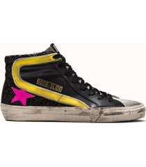 golden goose deluxe brand sneakers slide black glitter