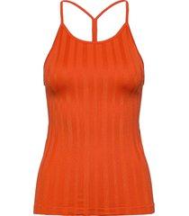 shiny matte seamless strap tank t-shirts & tops sleeveless orange casall