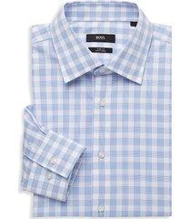 boss hugo boss men's regular-fit jango checked silk dress shirt - blue - size 16