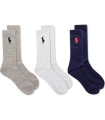 polo ralph lauren big pony crew socks - 3-pack