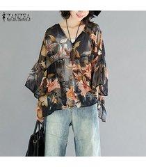 zanzea mujeres largo de la cascada de la manga tapas de la camisa de cuello v suelta la impresión floral de la blusa -naranja