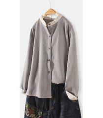 camicetta casual da donna con colletto alla coreana a maniche lunghe con stampa vintage striepd