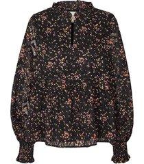 blouse met bloemenprint maya  zwart