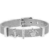 bracciale maglia milanese in acciaio e strass con tartaruga e ancora per donna