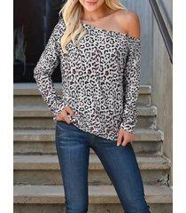 caqui leopard one camiseta de manga larga con hombros descubiertos