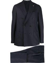 lardini double-breasted suit set - blue