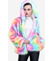 cappotti caldi con cappuccio in pelliccia sintetica colorata da donna