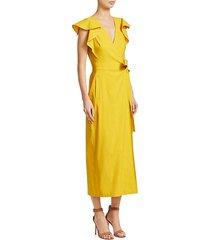 walker ruffle-sleeve tie wrap dress