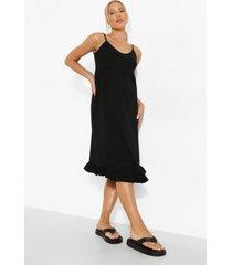 zwangerschap gesmokte midi jurk met geplooide zoom, black