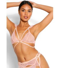 multi strap lace bralette thong and suspender set, blush