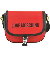 love moschino red leather mini shoulder bag