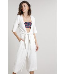blusa feminina transpassada com linho manga curta decote v off white