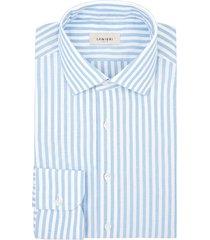 camicia da uomo su misura, canclini, oxford azzurro cotone rigenerato, quattro stagioni | lanieri