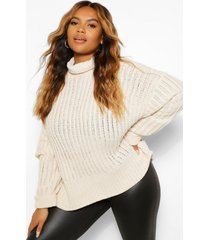 plus knitted high neck sweater, stone