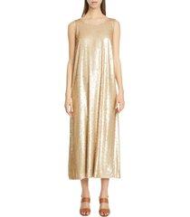women's lafayette 148 new york ross spectrum sequin midi dress, size small - beige