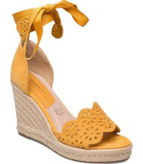 woms slip-on sandalette med klack espadrilles gul tamaris