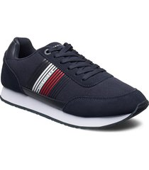 corporate material mix runner låga sneakers blå tommy hilfiger